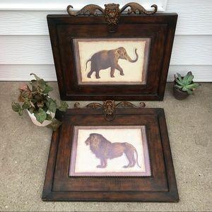 2 Large Metal Frame Wall Art, Lion & Elephant